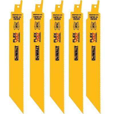 FLEXVOLT 8 in. 14/18 Teeth per in. Bi-Metal Reciprocating Saw Blade (5-Pack)