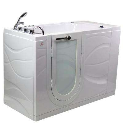 Chi 52 in. Walk-In Whirlpool/Air Bath Bathtub in White with LH Outward Swing Door, Heated Seat, Faucet, LH Dual Drain