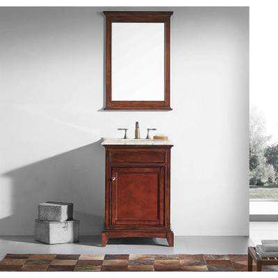 Elite Stamford 24 in. W x 23.5 in. D x 36 in. H Vanity in Brown (Teak) with Carrera Marble Top in White with White Basin