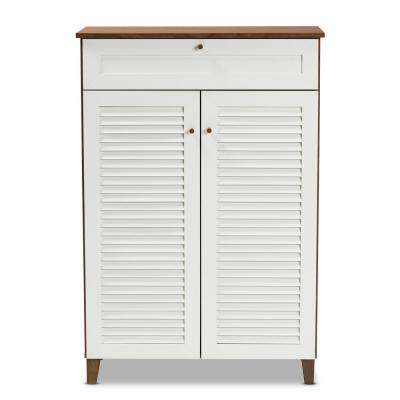 Coolidge 45 in. H x 31 in. W 15-Pair White and Walnut Wood Shoe Storage Cabinet with Drawers and Shelves