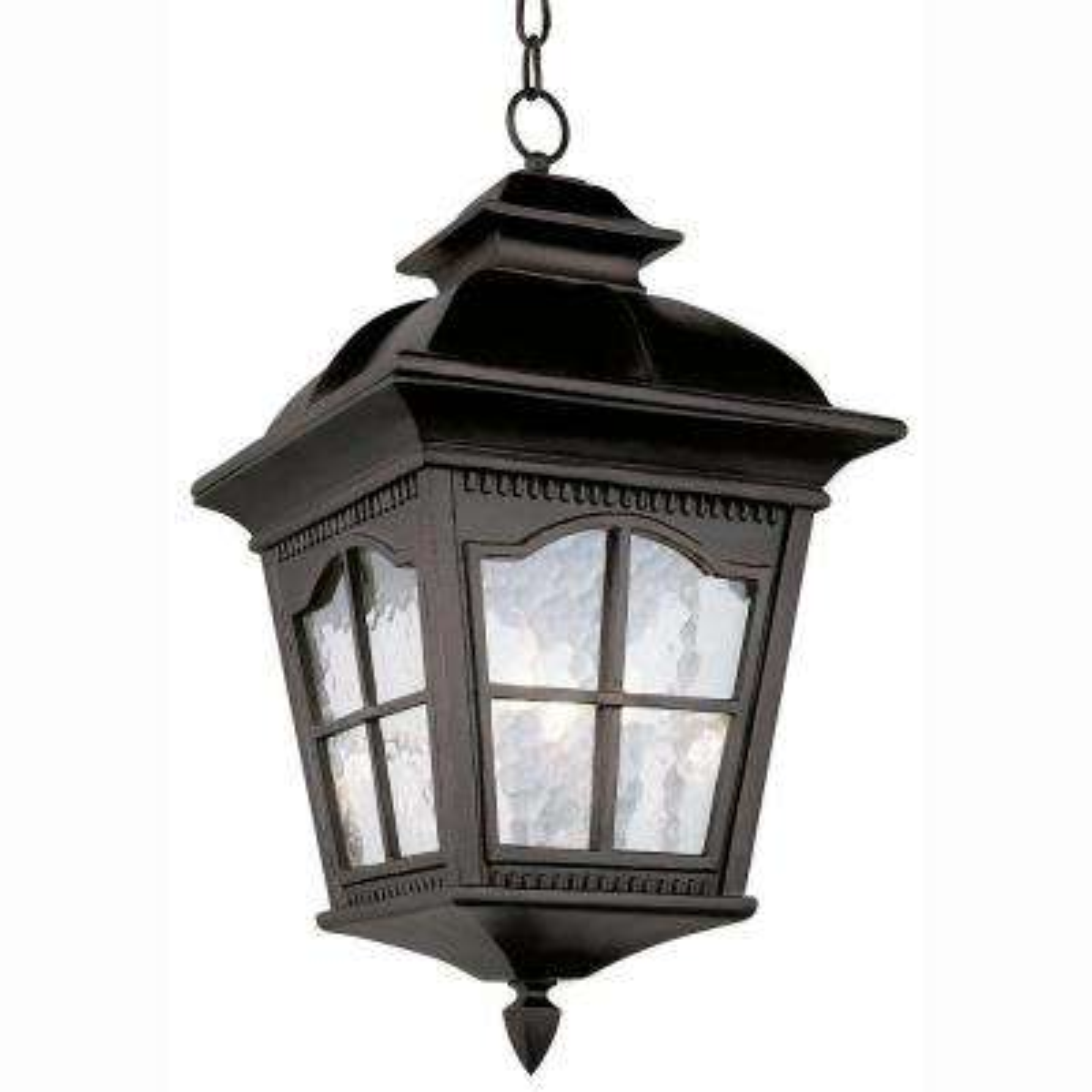 Bostonian 3-Light Outdoor Hanging Black Lantern with Water Glass