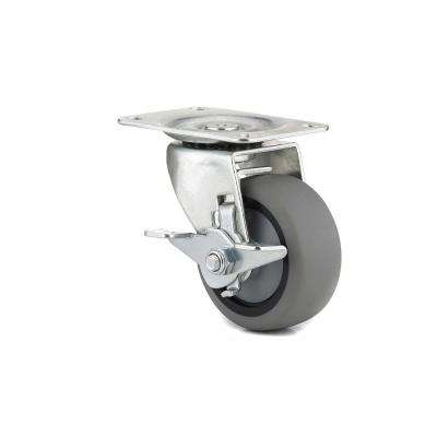 Exceptionnel 3 In. Gray Swivel With Brake Plate Caster, 176.4 Lb. Load Rating