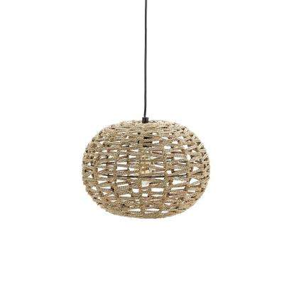 Geoffrey 10 in. 1-Light Beige Weave Pendant