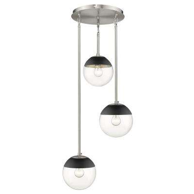 Dixon 3-Light Pendant in Pewter with Clear Glass and Black Cap