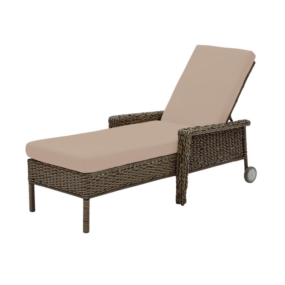 Laguna Point Brown Wicker Outdoor Patio Chaise Lounge with Sunbrella Beige Tan Cushions