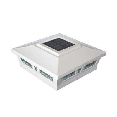 Oxford White Integrated Led 6 in. x 6 in. Aluminum Oxford Solar Post Cap (2-Pack)