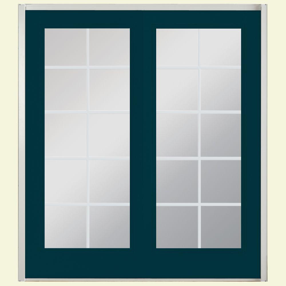 72 in. x 80 in. Night Tide Prehung Right-Hand Inswing 10 Lite Steel Patio Door with No Brickmold in Vinyl Frame