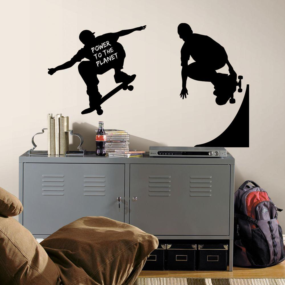 null 18 in. x 40 in. Chalkboard Skaters Chalk 3-Piece Peel and Stick Wall Decals