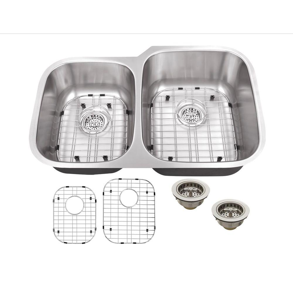 Schon All-in-One Undermount Stainless Steel 32 in. Double Basin Kitchen Sink