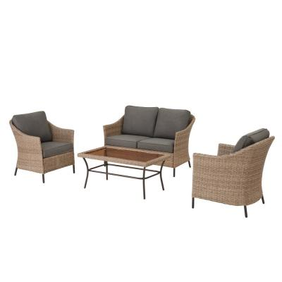 Kendall Cove 4-Piece Steel Patio Conversation Outdoor Seating Set with Charcoal Cushions