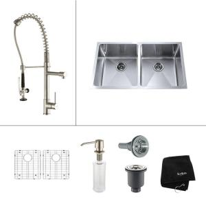 Kraus All-in-One Undermount Stainless Steel 33 inch Double Bowl Kitchen Sink... by KRAUS