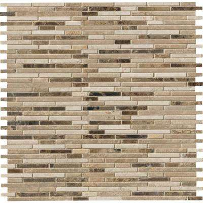 Emperador Blend Bamboo 12 in. x 12 in. x 10mm Brown Marble Mesh-Mounted Mosaic Tile (10 sq. ft. / case)