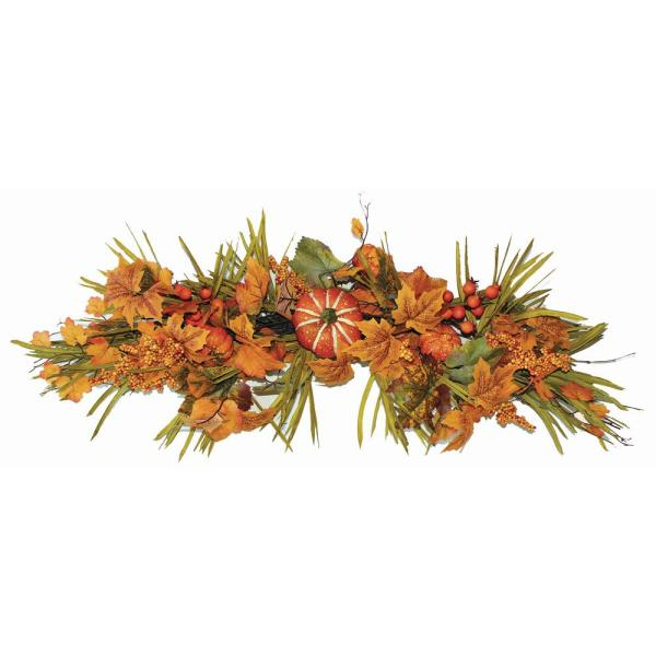 32 in. Fall Swag with Long Grasses Berries Pumpkins and Leaves