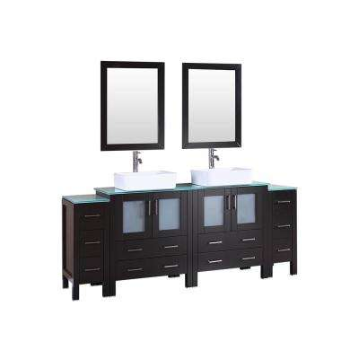 84 in. Double Vanity in Espresso w/ Tempered Glass Vanity Top in Green w/ White Basin Polished Chrome Faucet and Mirror