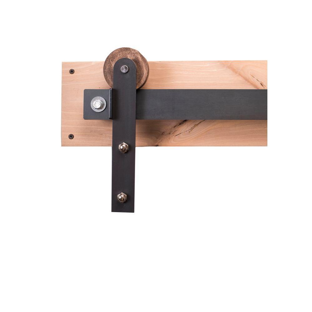 Rustica Hardware 84 in. Raw Steel Sliding Barn Door Hardware Kit ...