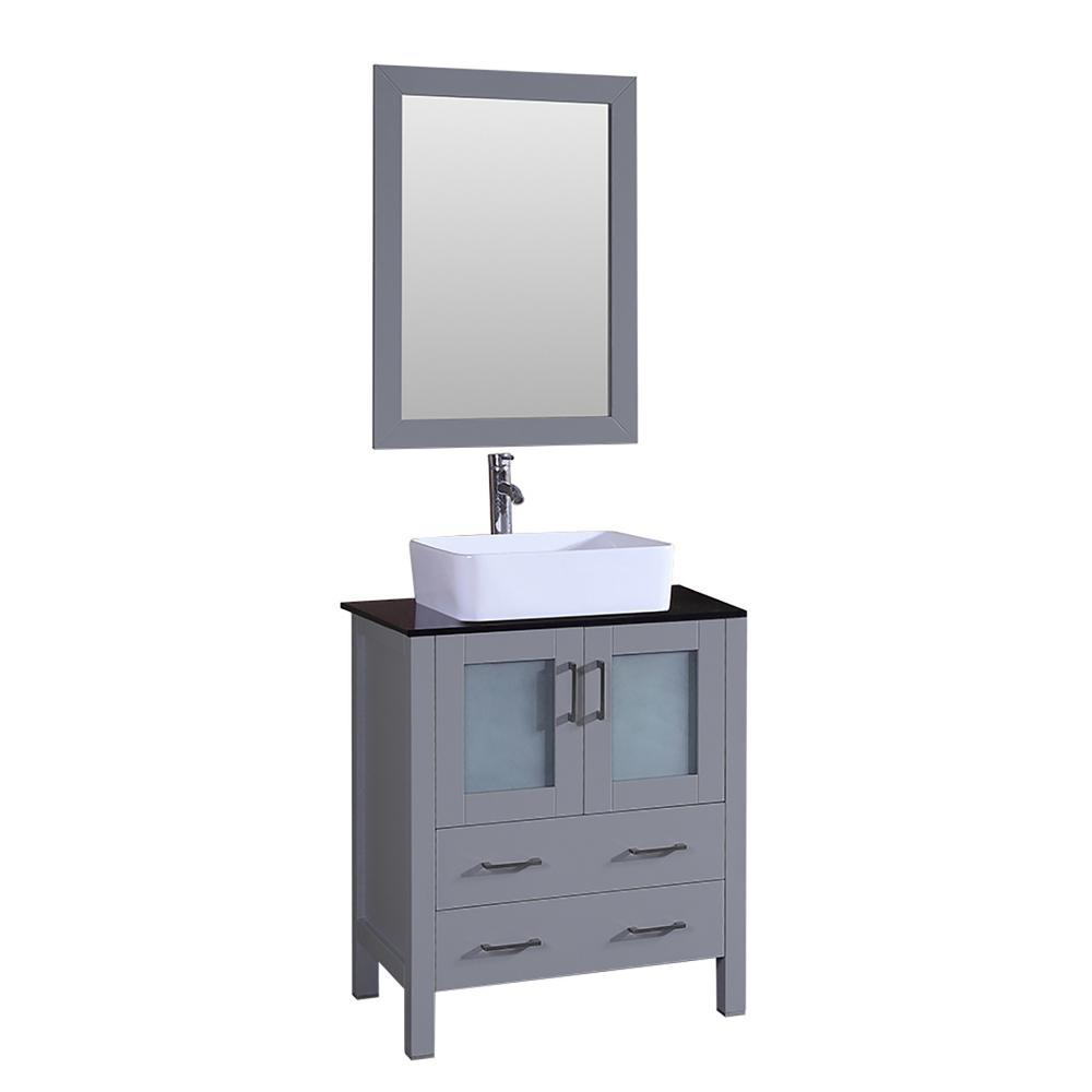 Bosconi Bosconi 30 in. W Single Bath Vanity in Gray with Vanity Top in Black with White Basin and Mirror