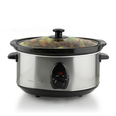 3.7 Qt. Stainless Steel Electric Slow Cooker with Heat-Tempered Glass Lid, Adjustable Temperature Control, (SLO35ABR)