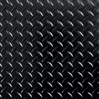 RaceDay 12 in. x 12 in. Peel and Stick Diamond Tread Midnight Black Polyvinyl Tile (20 sq. ft. / case)