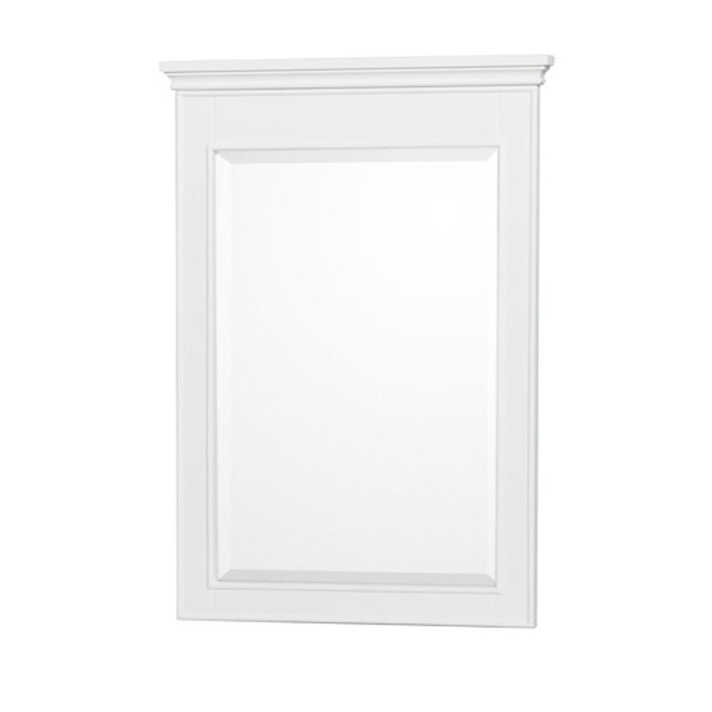 Berkeley 24 in. W x 34 in. H Framed Rectangular Bathroom Vanity Mirror in White