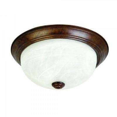 2-Light Dark Brown Flushmount