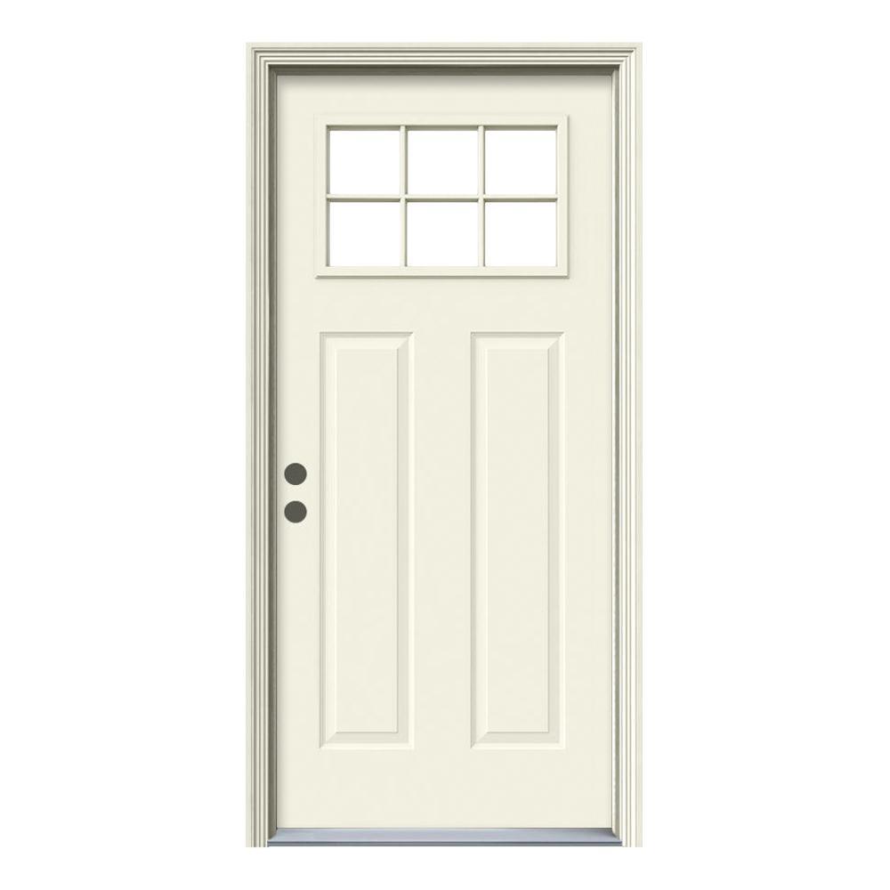 JELD-WEN 36 in. x 80 in. 6 Lite Primed Steel Prehung Left-Hand Inswing Inswing Front Door