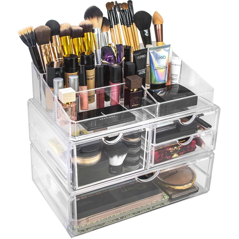 Sorbus 8.75 in. x 11.75 in. Stackable 1-Cube Cosmetic Organizer in Acrylic-MUP-LSET1-13 - The ...