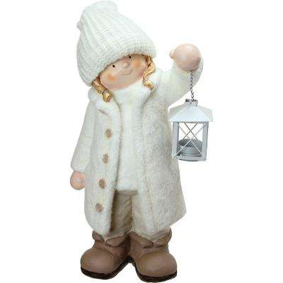 17.25 in. Winter Girl in White Holding a Tealight Lantern Christmas Table Top Figure
