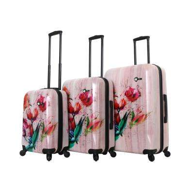 Paola 3-Piece Painted Flowers Spinner Luggage Set