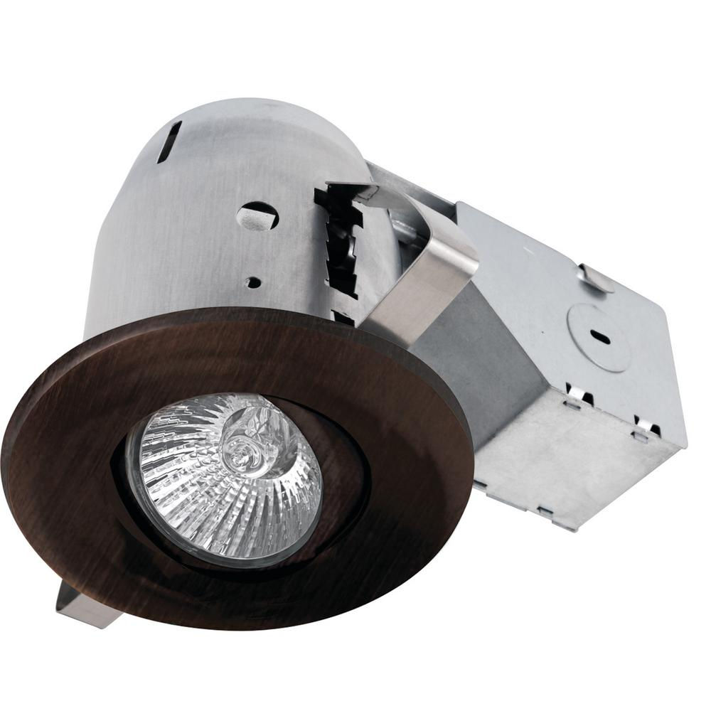 3 in. Dark Bronze Recessed Swivel Lighting Kit with Dimmable Downlight