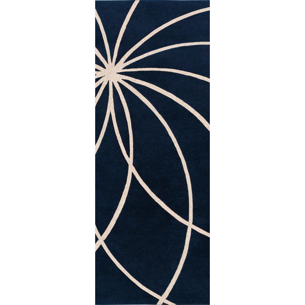 Aisha Dark Blue 3 ft. x 12 ft. Runner Rug
