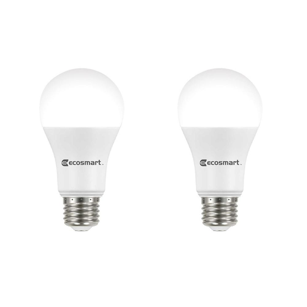 Ecosmart 100 Watt Equivalent A19 Dimmable Energy Star Led Light Bulb Bright White 2 Pack A7a19a100wesd05 The Home Depot