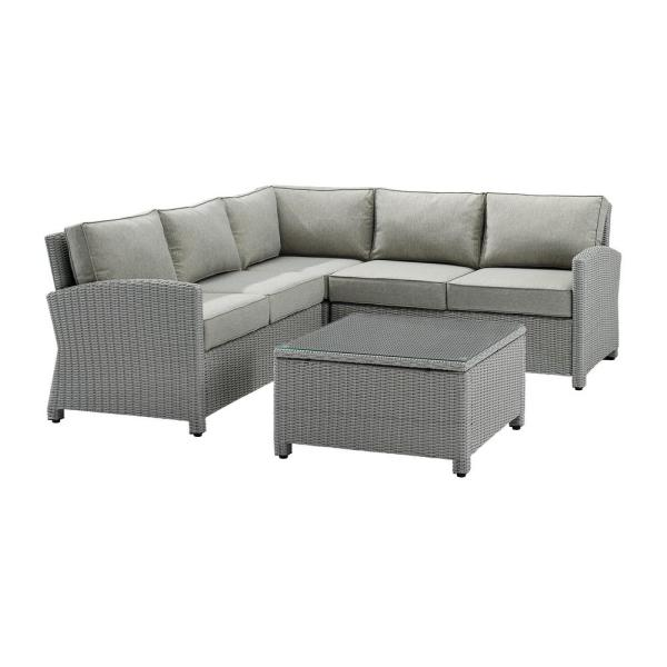 Bradenton Gray 4-Piece Wicker Outdoor Sectional Seating Set with Gray Cushion