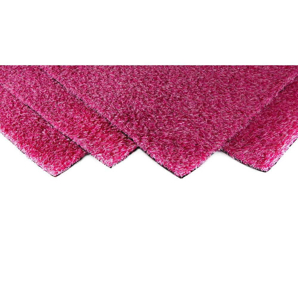 GREENLINE Pink Blend Artificial Grass Synthetic Lawn Turf Indoor/Outdoor Carpet, Sold by 12 ft. W x Customer Length