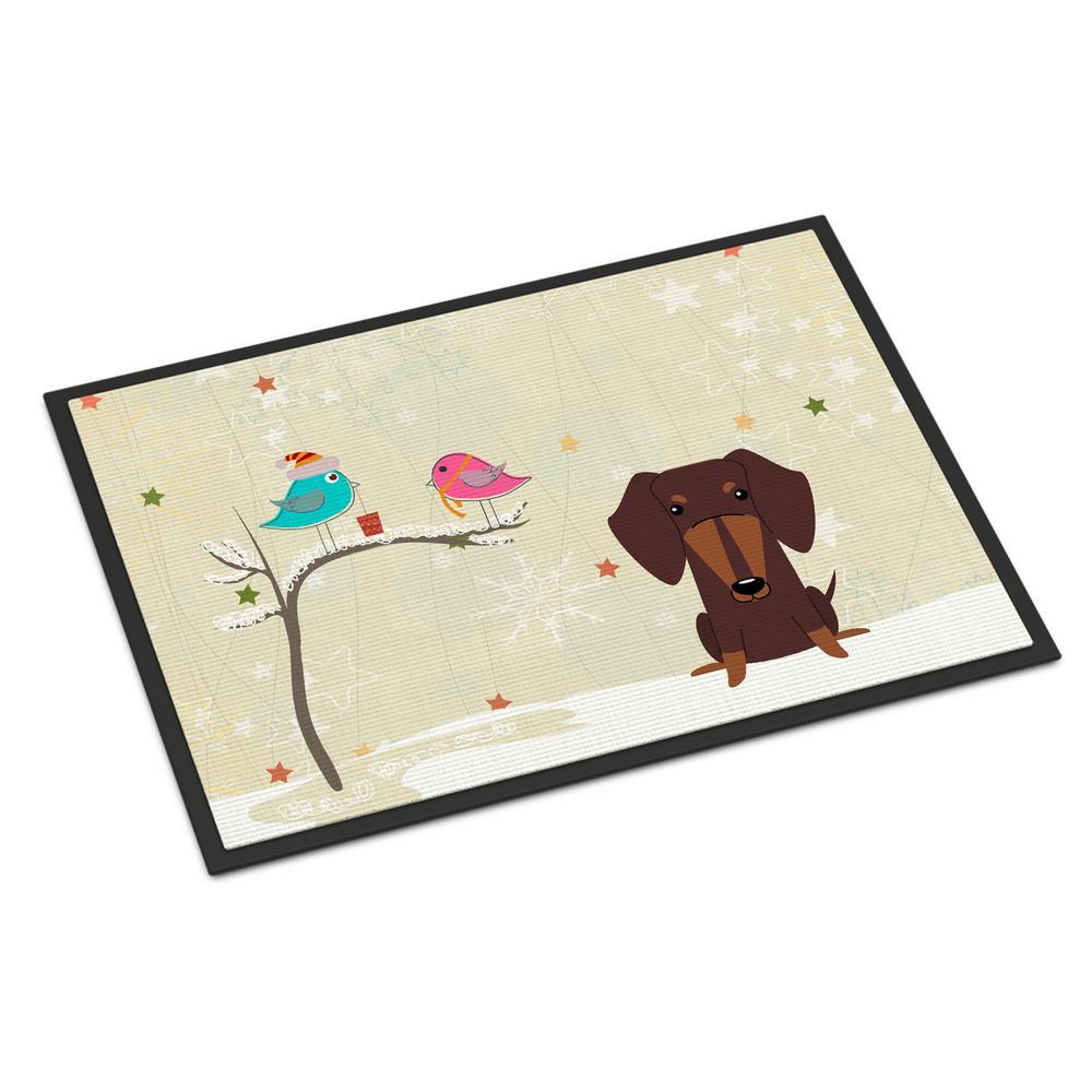 24 in. x 36 in. Indoor/Outdoor Christmas Presents between Friends Dachshund Chocolate Door Mat