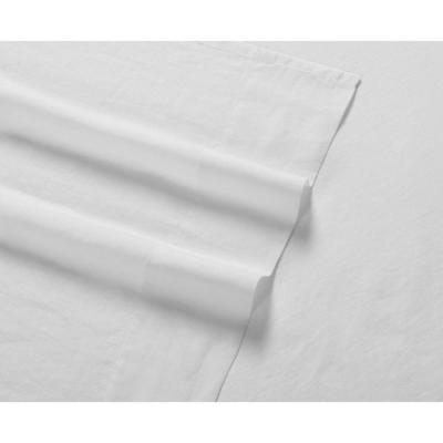 Flax Linen 4-Piece White Solid 300 Thread Count King Sheet Set