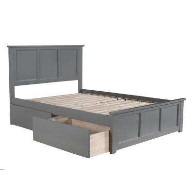 Madison Full Platform Bed with Matching Foot Board with 2 Urban Bed Drawers in Grey