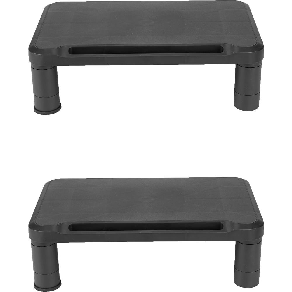 Mind Reader Small Monitor Stand Riser for Monitors and Laptops, Black (2-Pack) Tired of holding you monitor up with loads of paper. Give your monitor a boost with this sleek designed monitor riser. The Mind Reader monitor stand raises your monitor for maximum comfort, reducing eye and neck strain, and leaves room to store your office supplies. The 2 Pack Monitor Stand Riser from Mind Reader allows you to use dual screens at an eye level position. Color: Black.