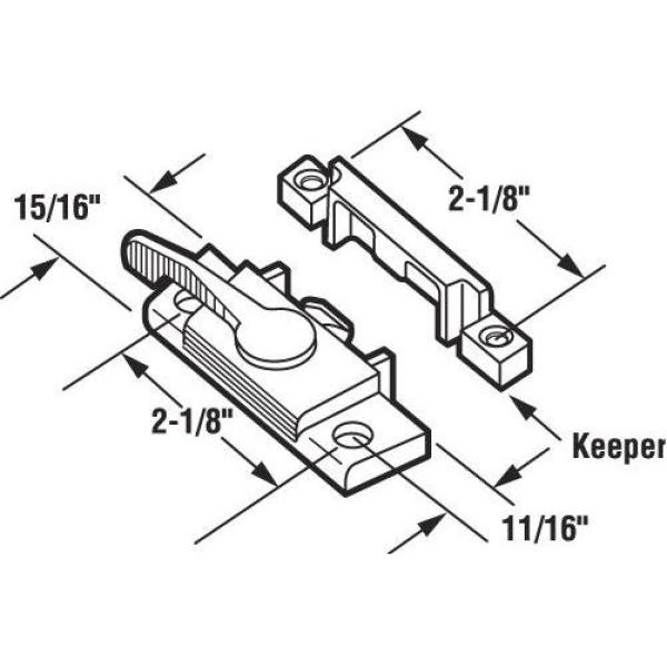 Chrome Die cast 5 Piece Pack of 5 Prime-Line MP2571 Right Hand Sliding Window Sash Lock