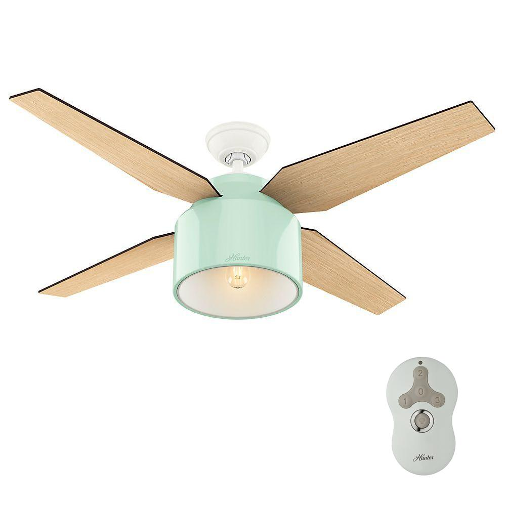 Hunter cranbrook 52 in indoor mint ceiling fan with led light 59258 indoor mint ceiling fan with led light aloadofball Gallery
