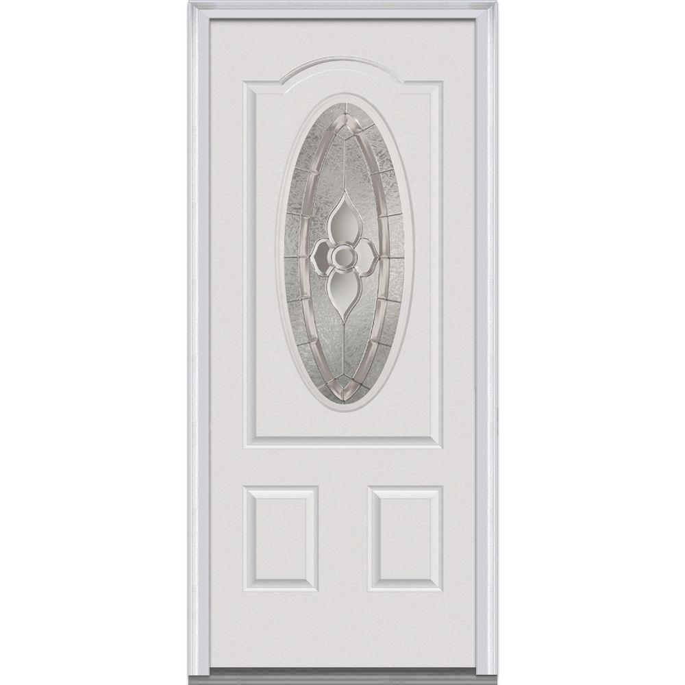 Mmi Door 36 In X 80 In Master Nouveau Left Hand 3 4 Oval Lite 2 Panel Primed Steel Prehung