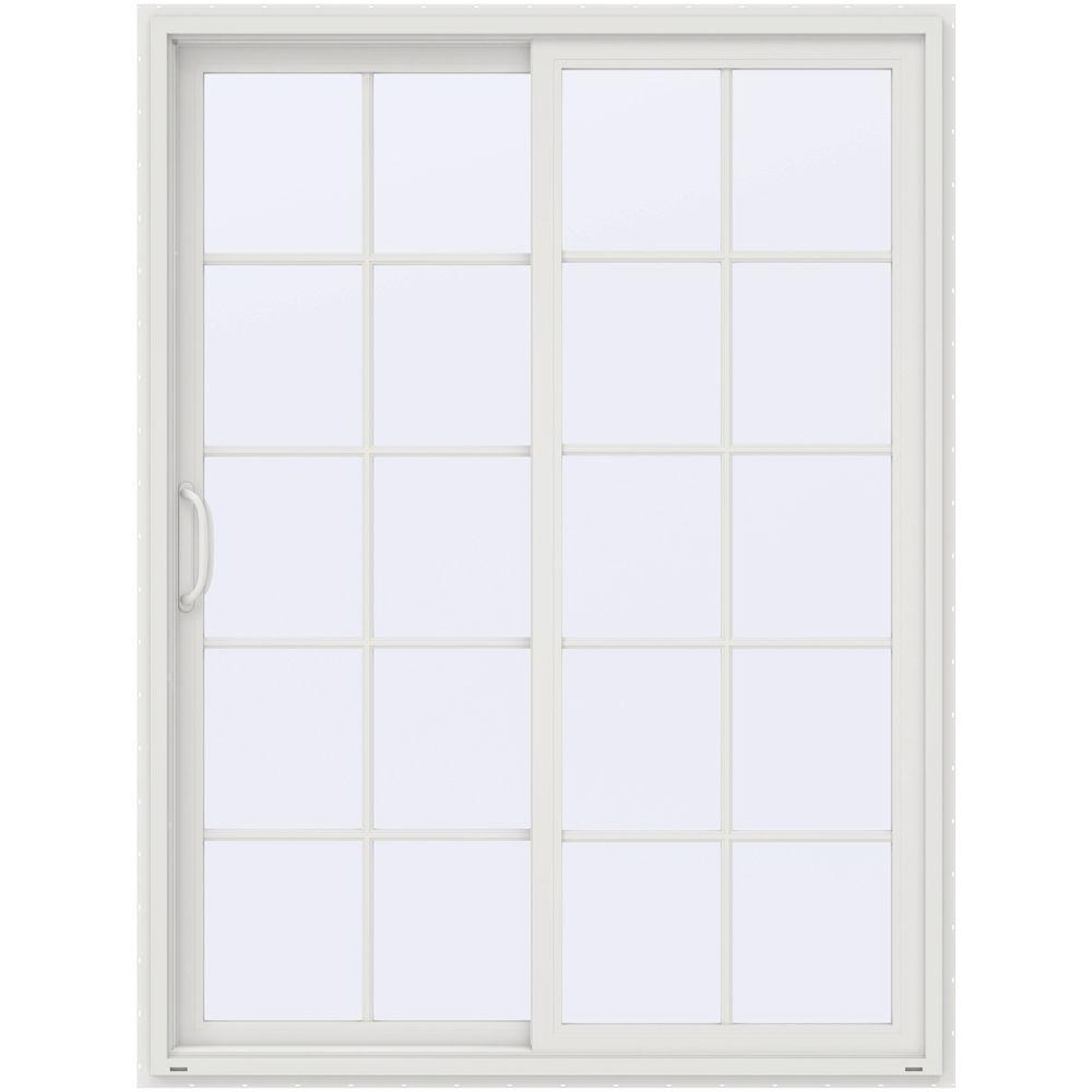 Steves sons 60 in x 80 in white prehung primed left for Center sliding patio doors