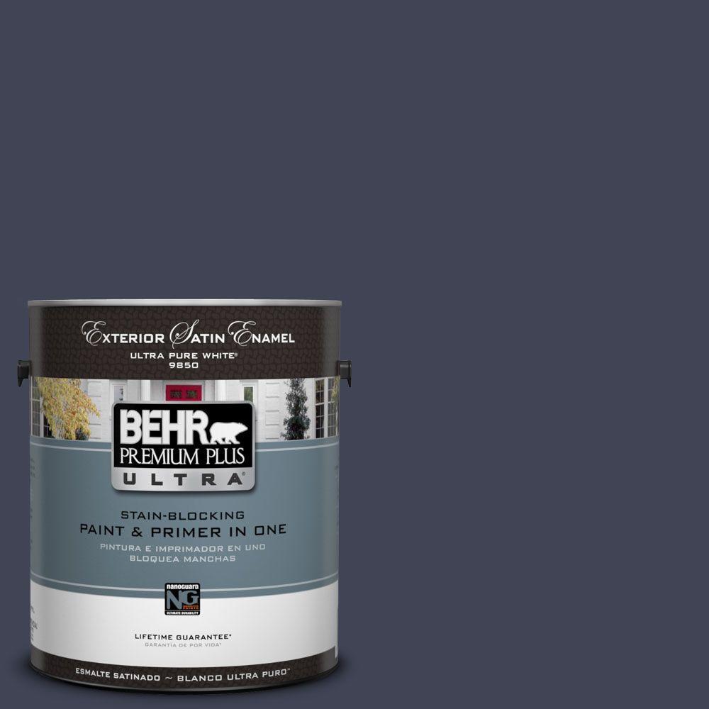 BEHR Premium Plus Ultra 1-Gal. #UL240-1 Black Sapphire Satin Enamel Exterior Paint