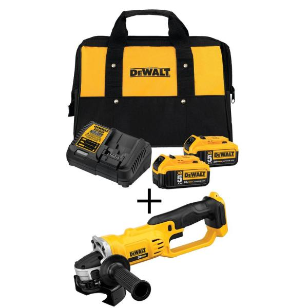 20-Volt MAX Lithium-Ion Cordless 4-1/2 in. to 5 in. Grinder w/ (2) 5Ah Batteries, Charger and Kit Bag