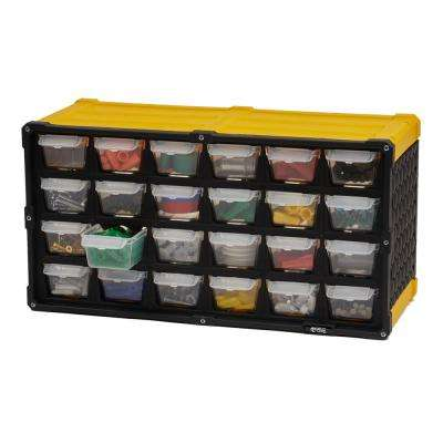 24-Compartment Small Parts Organizer, Yellow