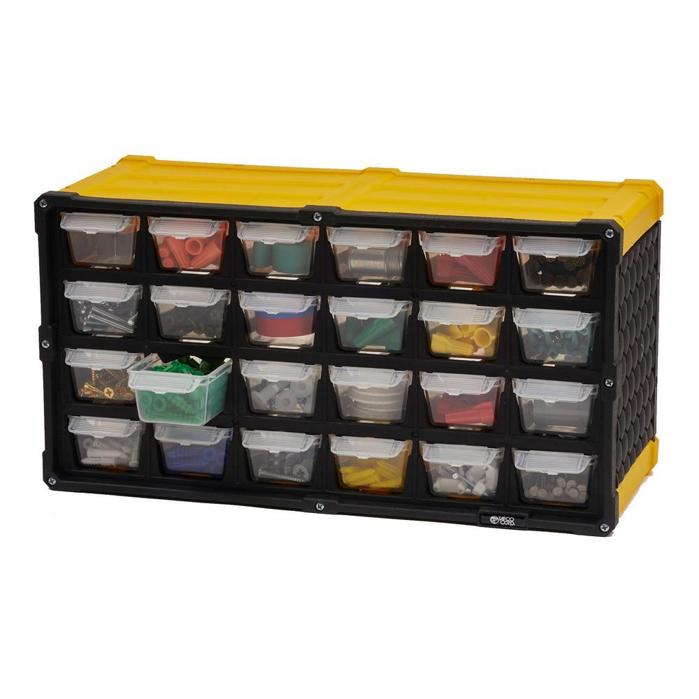 24-Compartment Small Parts Organizer, Yellow