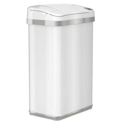 Opening Multifunction Sensor Trash Can In Matte Pearl White