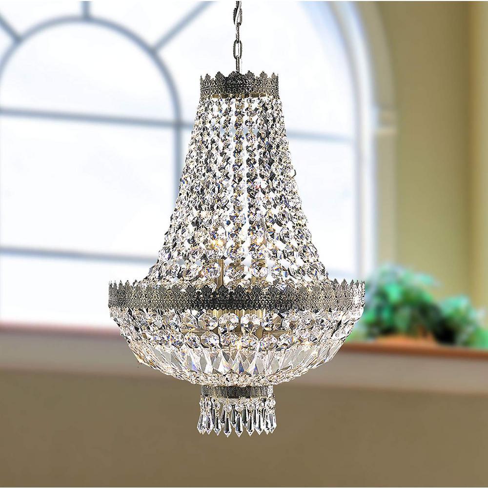 Metropolitan 6-Light Antique Bronze Crystal Chandelier