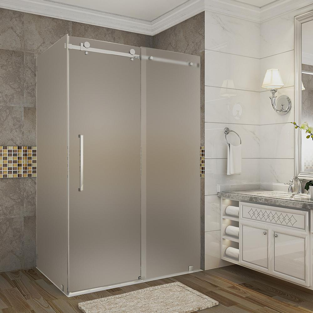 48 In. X 35 In. X 75 In. Completely Frameless Sliding Shower Enclosure