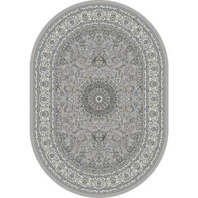 Ancient Garden Soft Grey/Cream 3 ft. x 5 ft. Oval Area Rug