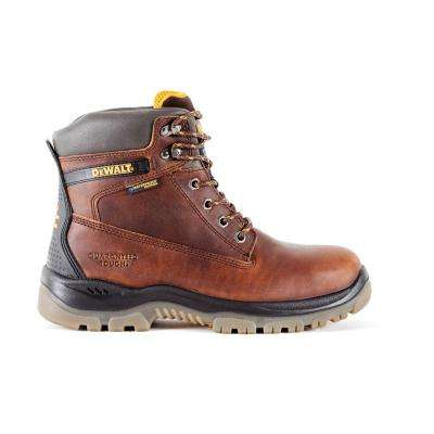 Titanium WP Men 6 in. Size 8.5 Brown Leather Steel Toe Waterproof Work Boot